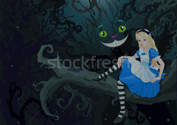 不思議 森林 座って 支店 少女 背景 ストックフォト © Dazdraperma