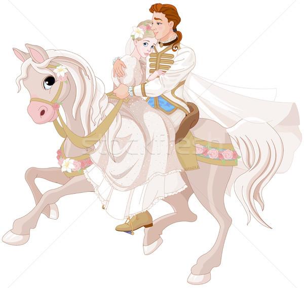 Cinderella and Prince Riding a Horse after wedding Stock photo © Dazdraperma