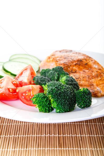 新鮮な 緑 ブロッコリー 鮭 ディナー ストックフォト © dbvirago