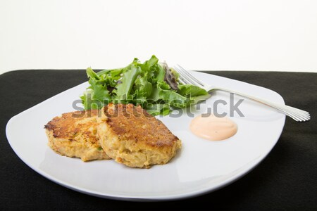 Crab Cakes and Greens Stock photo © dbvirago