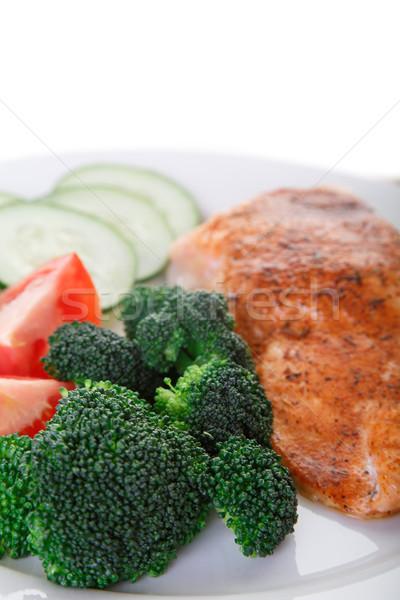クローズアップ 鮭 ディナー ブロッコリー トマト ストックフォト © dbvirago
