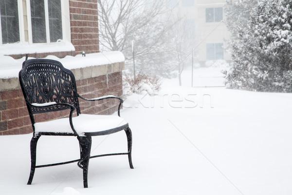 Lege zwarte bank sneeuw ijzer sneeuwstorm Stockfoto © dbvirago