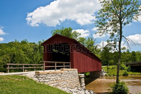 Old Red Bridge by Stone Wall Stock photo © dbvirago