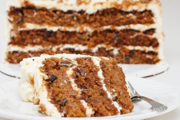 Foto d'archivio: Fetta · metà · torta · di · carote · forcella · piatto · torta