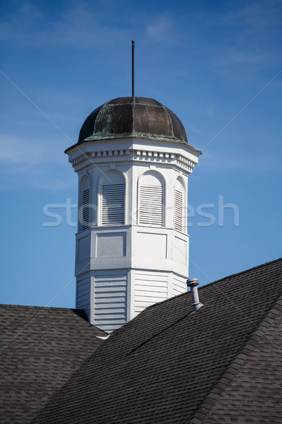 Old Tarnished Cupola on Roof Under Blue Skies Stock photo © dbvirago