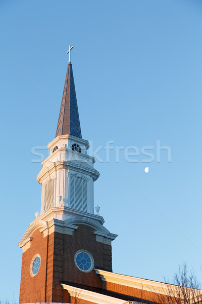 Early Morning Steeple with Moon Stock photo © dbvirago