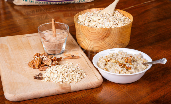 Oatmeal with Pecans and Cinnamon Stock photo © dbvirago