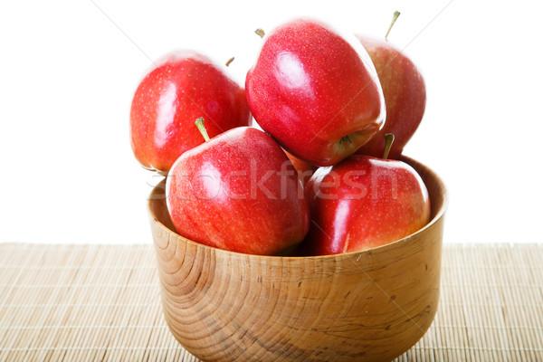 赤 リンゴ 木材 ボウル 白 竹 ストックフォト © dbvirago