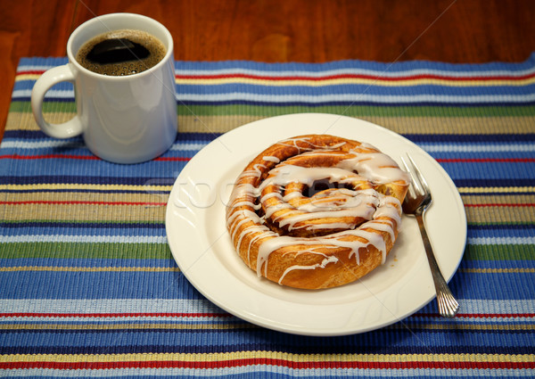 Cinammon Roll and Coffee Stock photo © dbvirago