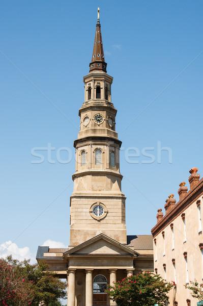 Stock photo: Brown Stone Steeple on Church
