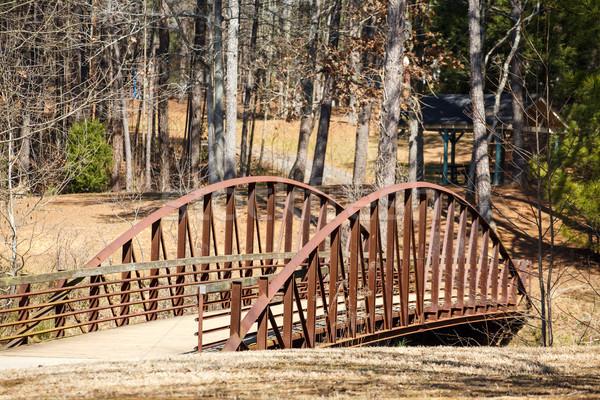 古い木材 金属 橋 冬 森 古い ストックフォト © dbvirago