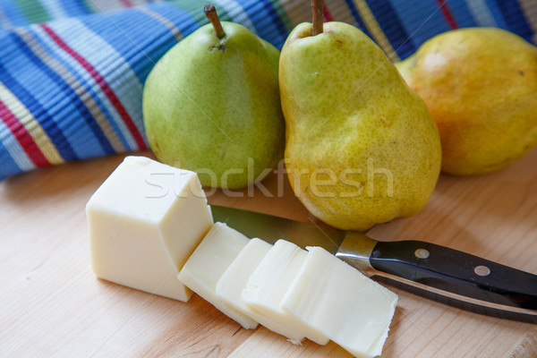 Pears and Sliced Cheese with Colorful Placemat Stock photo © dbvirago