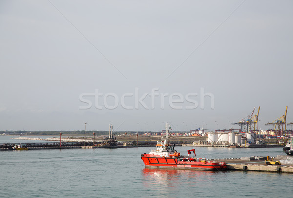 Stock photo: Red Rescue Boat in Civitavecchia