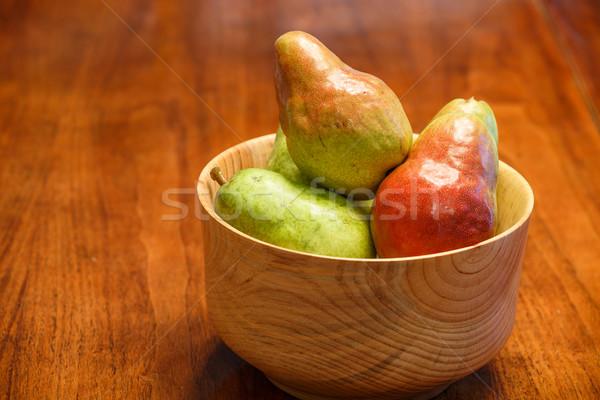 梨 木材 新鮮な ボウル 食品 ストックフォト © dbvirago