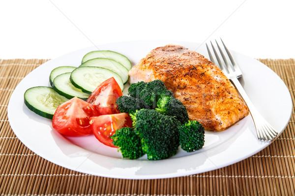 Salmone verdura forcella cena broccoli Foto d'archivio © dbvirago