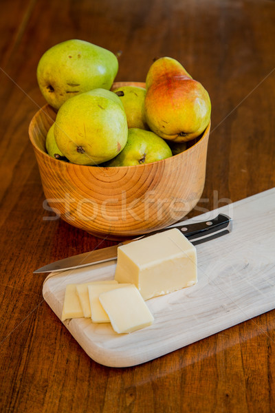 Bowl of Pears with Sliced Cheese Stock photo © dbvirago