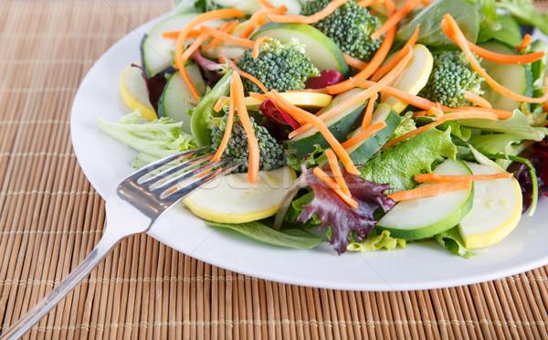 サラダ フォーク 竹 混合した 白 ストックフォト © dbvirago