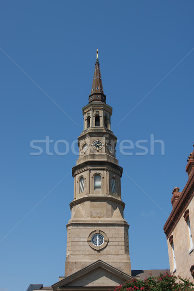 Brown Steeple Under Blue Sky Stock photo © dbvirago