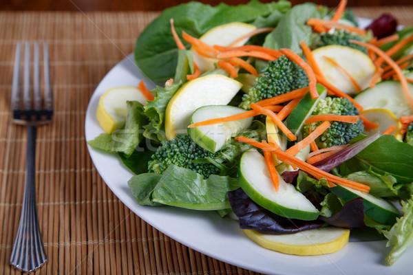サラダ 竹 フォーク 混合した 白 ストックフォト © dbvirago