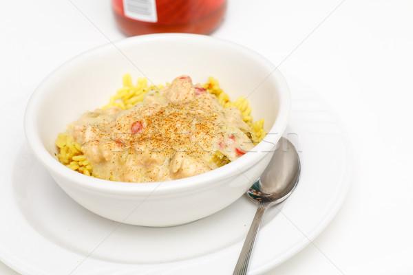 Frango pimenta amarelo arroz branco tigela Foto stock © dbvirago