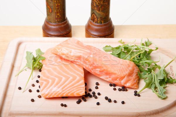 鮭 ボード 2 新鮮な 生 黒 ストックフォト © dbvirago