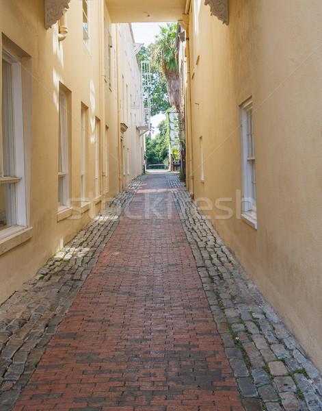 Ladrillo callejón amarillo estuco paredes estrecho Foto stock © dbvirago