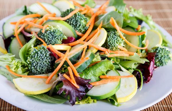 サラダ 白 プレート 竹 混合した ストックフォト © dbvirago