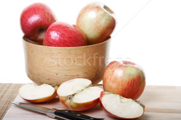 全体 カット リンゴ ボード 木材 ボウル ストックフォト © dbvirago
