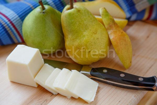 ストックフォト: カット · 梨 · 全体 · 梨 · チーズ