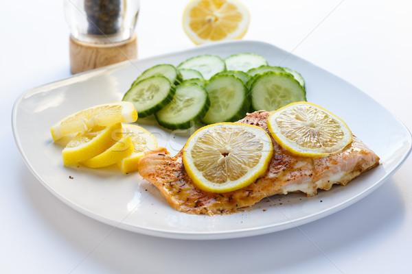 ストックフォト: 鮭 · レモン · 胡瓜 · レモン