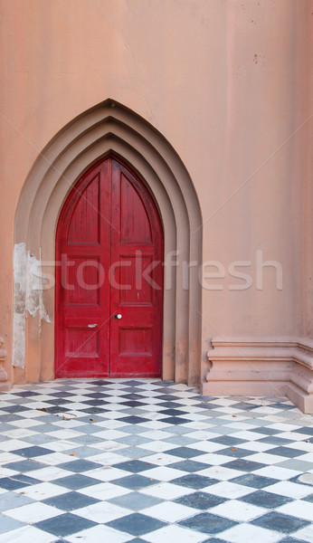 White Door Knob on Red Church Door Stock photo © dbvirago