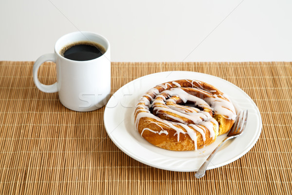 Cinnamon Roll and Coffee Stock photo © dbvirago