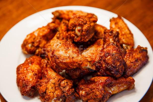 バーベキュー 翼 白 プレート 辛い 鶏 ストックフォト © dbvirago