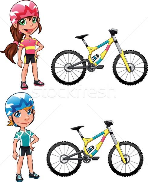 Bebek bisikletçiler komik karikatür vektör karakter Stok fotoğraf © ddraw
