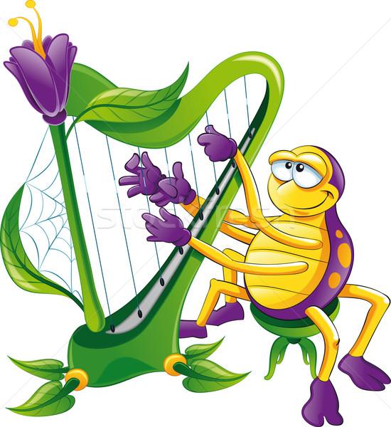 Pók hárfa vicces rajz vektor karakter Stock fotó © ddraw