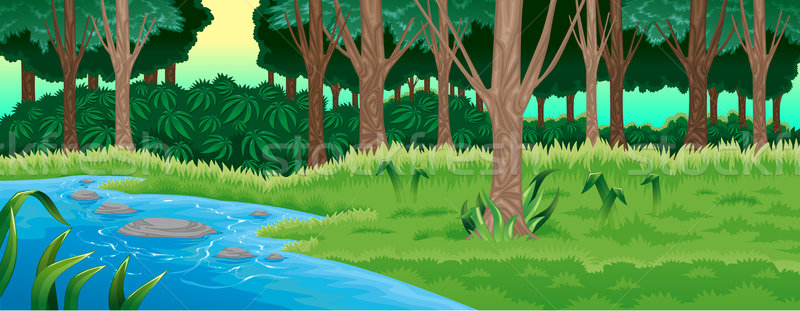 Groene bos vector cartoon illustratie boom Stockfoto © ddraw