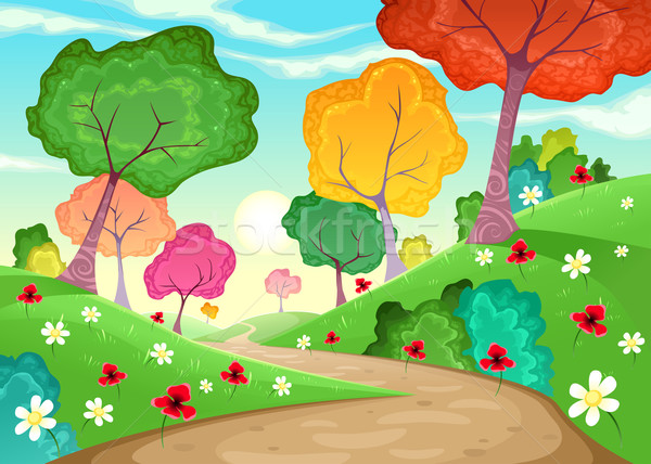 Landscape with multi-colored trees.  Stock photo © ddraw