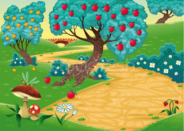 Wood with fruit trees. Stock photo © ddraw