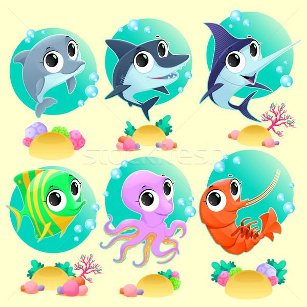 Stockfoto: Grappig · mariene · dieren · achtergronden · vector · cartoon