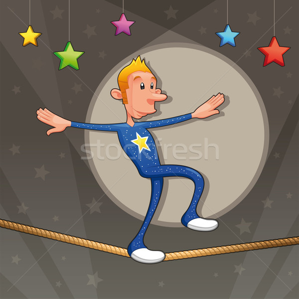 Funny equilibrist is walking on the tightrope. Stock photo © ddraw