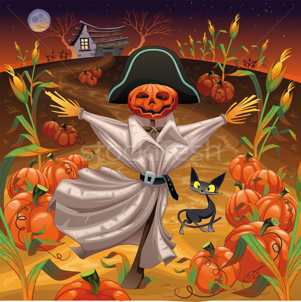 Scarecrow with pumpkins. Stock photo © ddraw