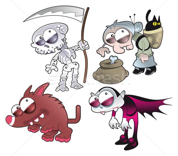 Horror família engraçado desenho animado vetor isolado Foto stock © ddraw