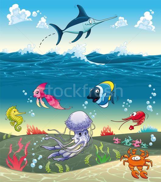 Deniz balık diğer hayvanlar komik karikatür Stok fotoğraf © ddraw