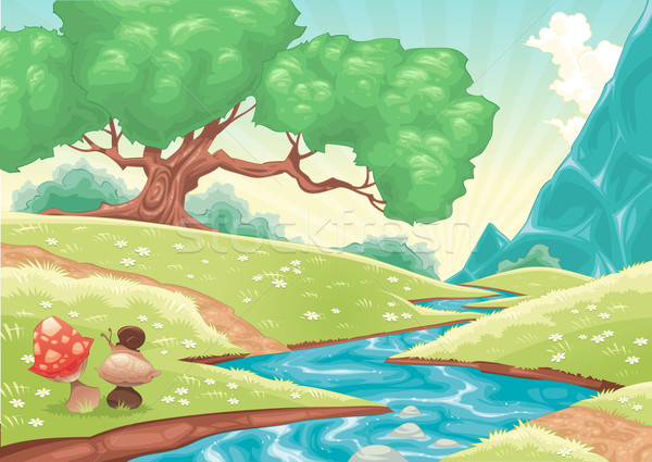 Cartoon landscape with stream.  Stock photo © ddraw
