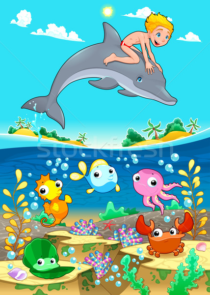 Boy and dolphin with fish unde the sea. Stock photo © ddraw