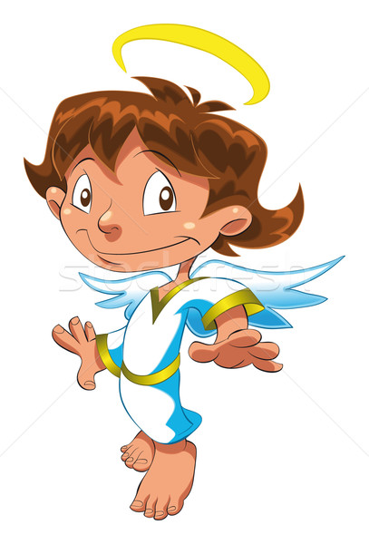 Weinig engel grappig cartoon vector geïsoleerd Stockfoto © ddraw