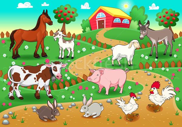 сельскохозяйственных животных вектора Cartoon иллюстрация семьи дерево Сток-фото © ddraw