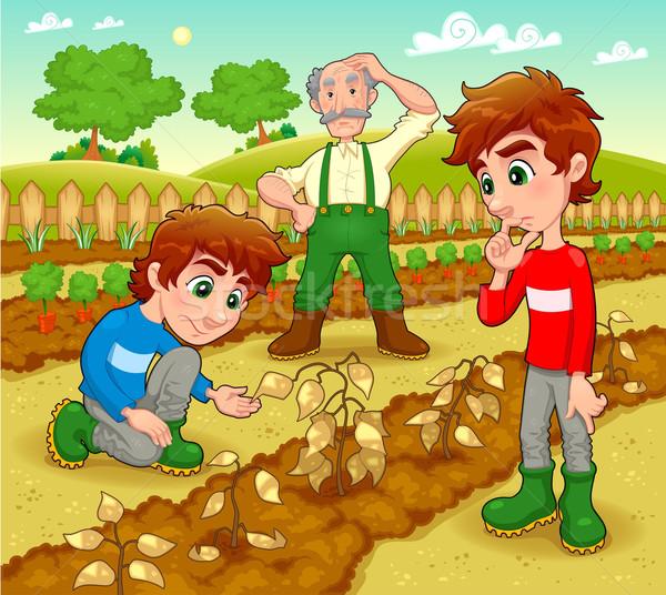 Grappig scène plantaardige tuin vector cartoon Stockfoto © ddraw