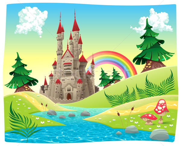 Panorama with castle. Stock photo © ddraw