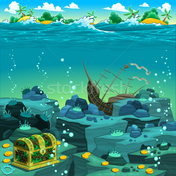 Seascape with treasure and galleon. Stock photo © ddraw